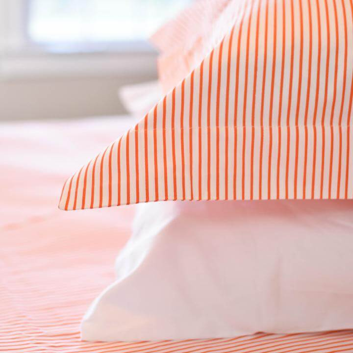 Caché District Pinstripe Shams in Orange Jungle Pillows