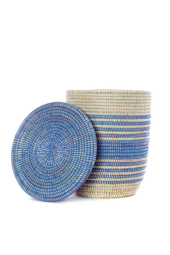 Swahili African Modern Set of Three Blue Ebb & Flow Striped Hampers