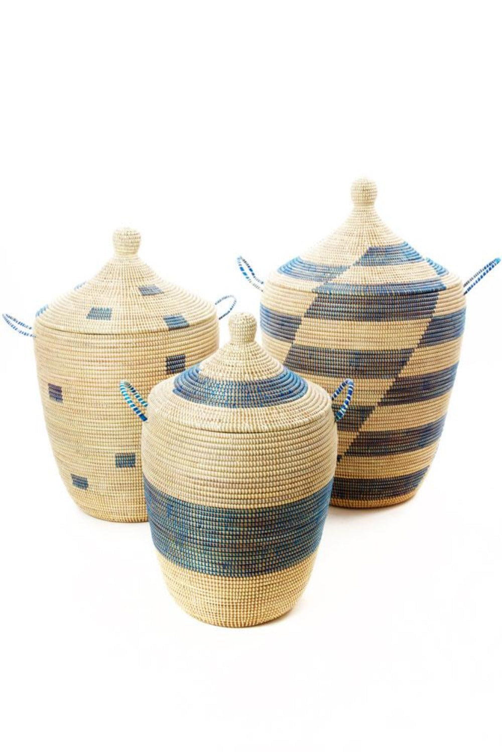 Swahili African Modern Set of Three Blue and Cream Mixed Pattern Hampers Jungle Pillows