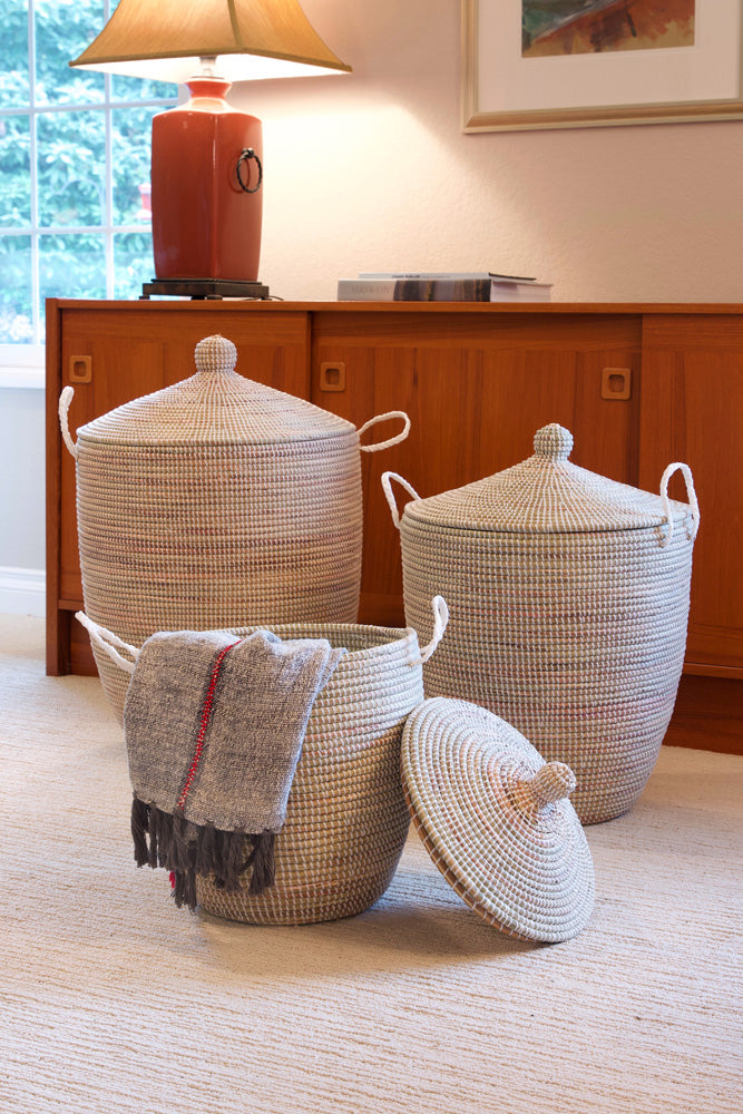 Swahili African Modern Set of Three Solid White Hampers