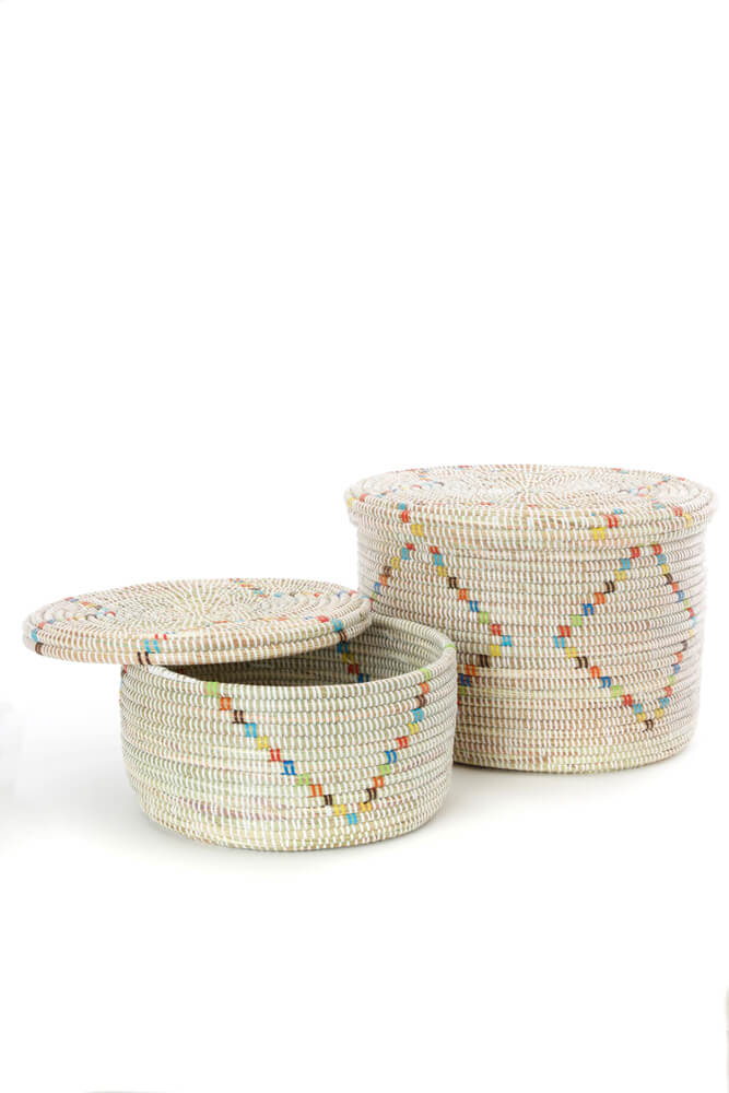 Swahili African Modern Set of Two Rainbow Garland Lidded White Storage Baskets