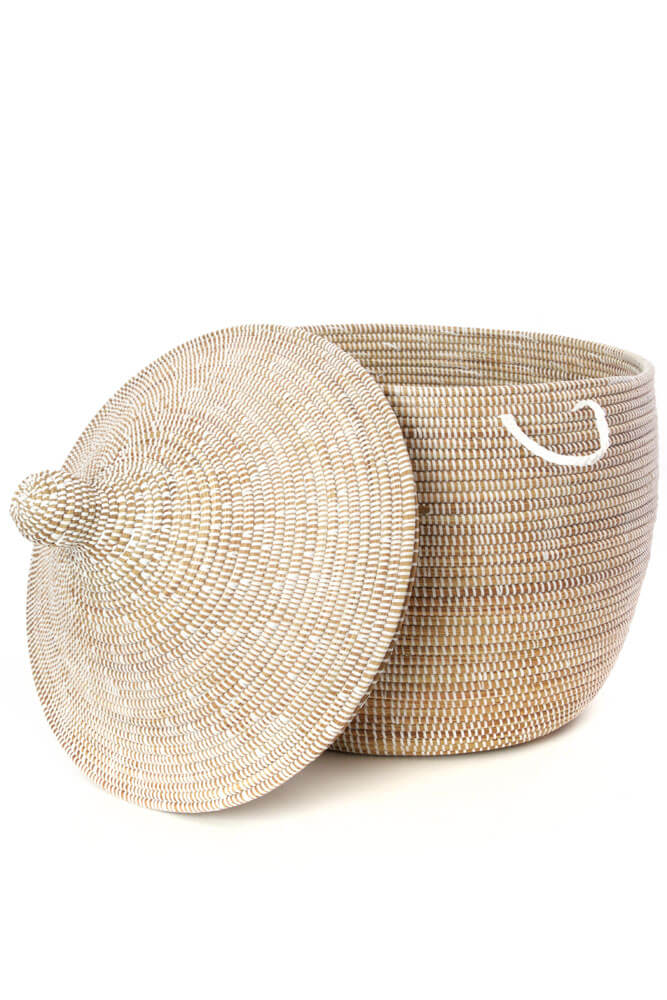 Swahili African Modern Short Hardy Hamper Basket from Senegal