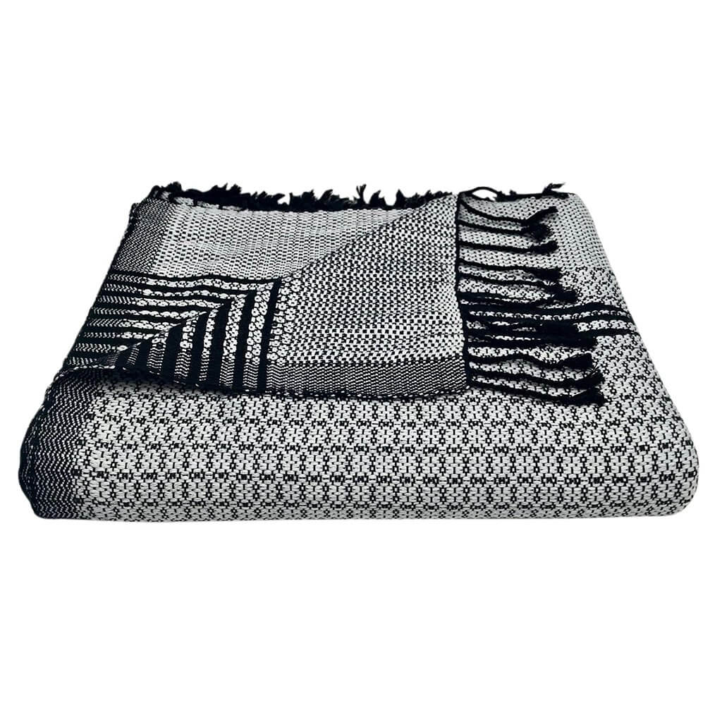 Slate + Salt Organic Silver Cambodia Tapestry Throw Blanket