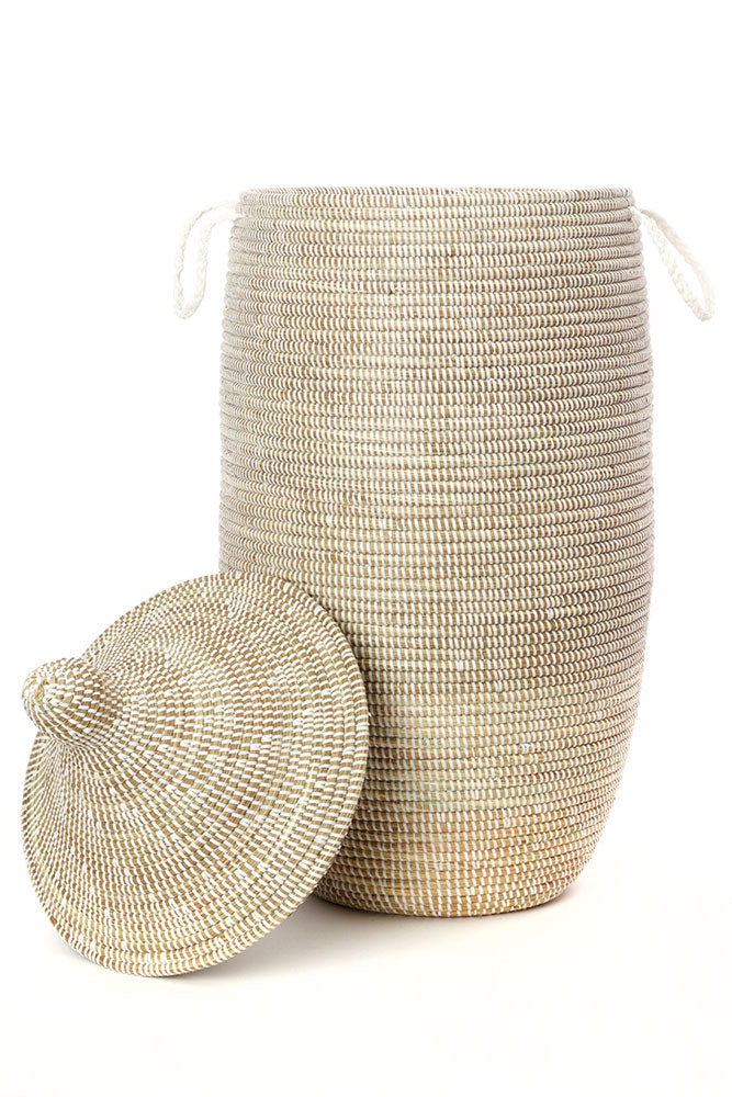 Swahili African Modern Slender Laurel Hamper Basket from Senegal