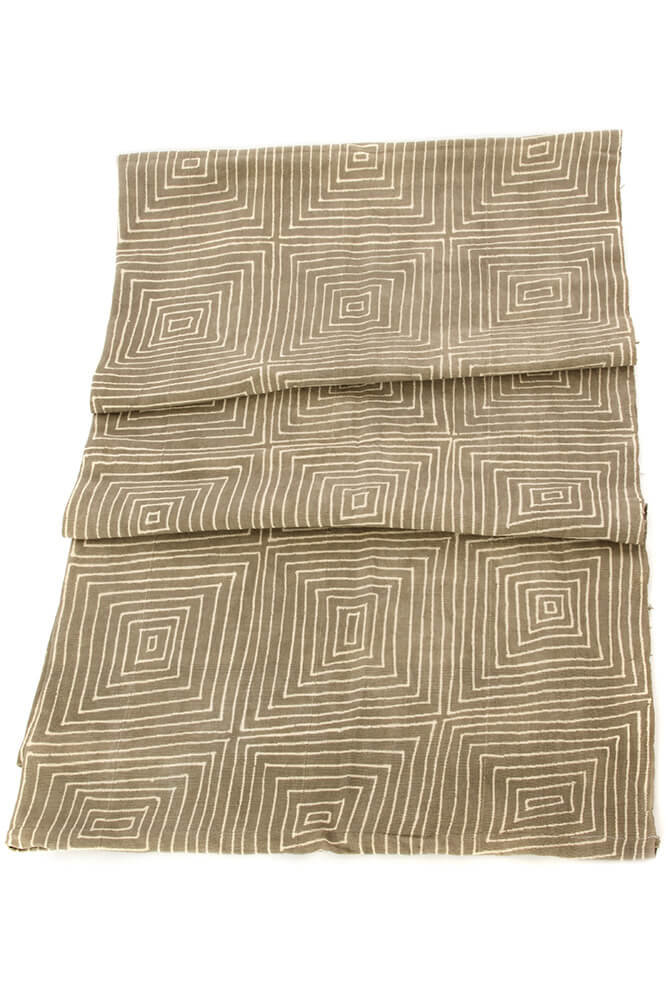 Swahili African Modern Grey Segou Squares Organic Cotton Mudcloth Throw