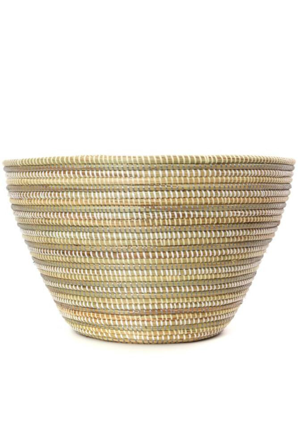 Swahili African Modern Striped Silver, Cream & White Senegalese Funnel Basket