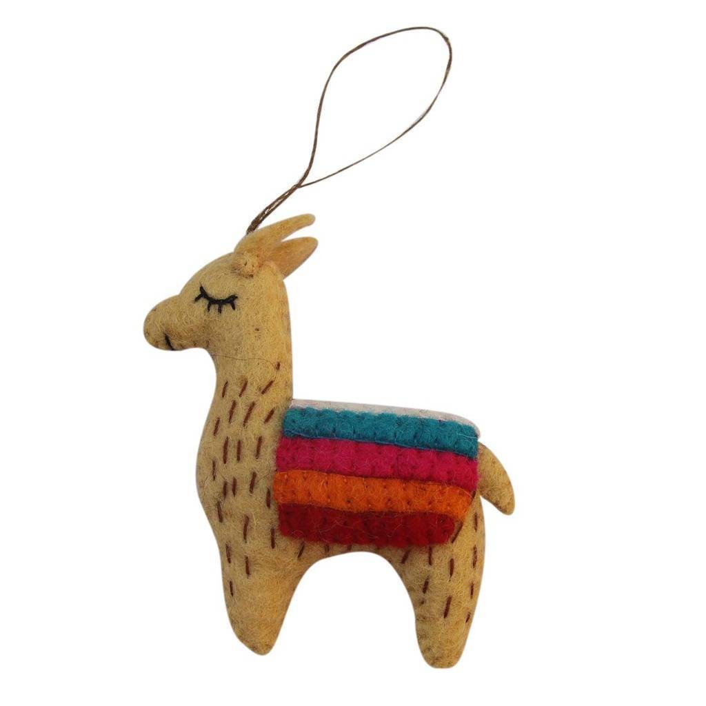 Global Groove Tan Felt Llama Holiday Ornament Jungle Pillows