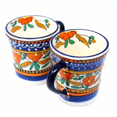 Orange and Blue Flared Coffee Cups Set of Two