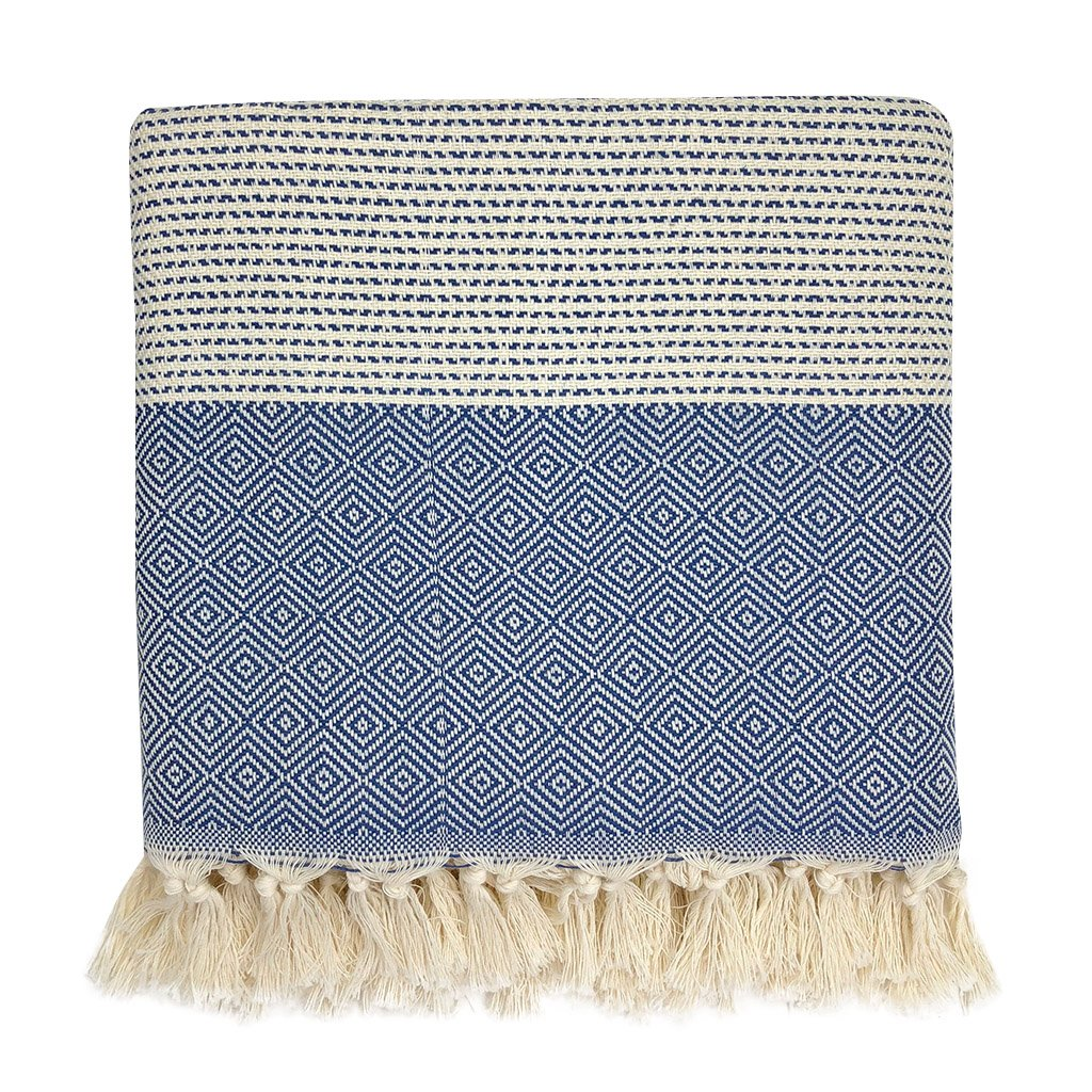 Slate + Salt Diamond Stripe Turkish Cotton Throw Blanket