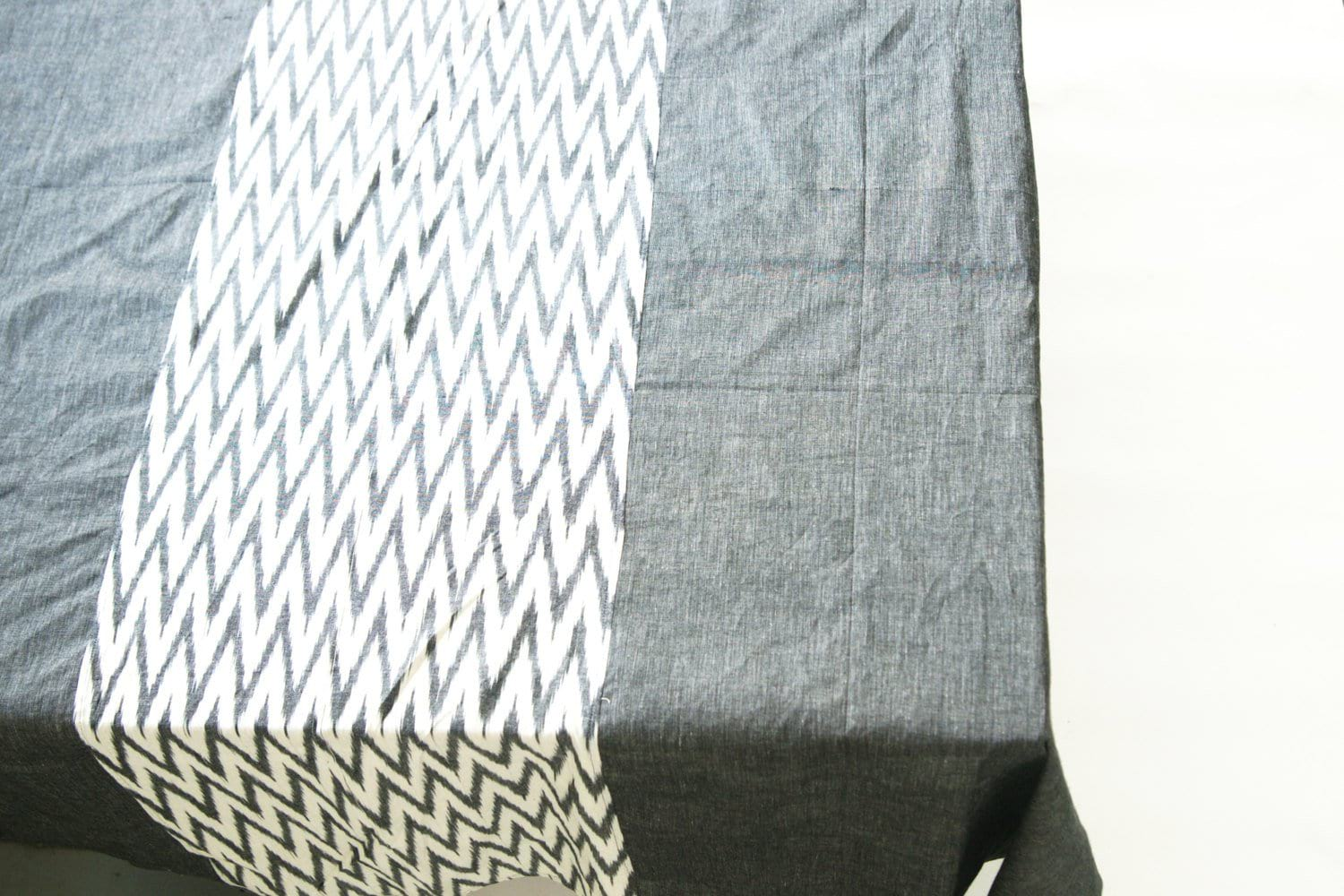 Rustic Loom Gray Chevron Zig Zag Cotton Tablecloth Handwoven Ikat Stripe