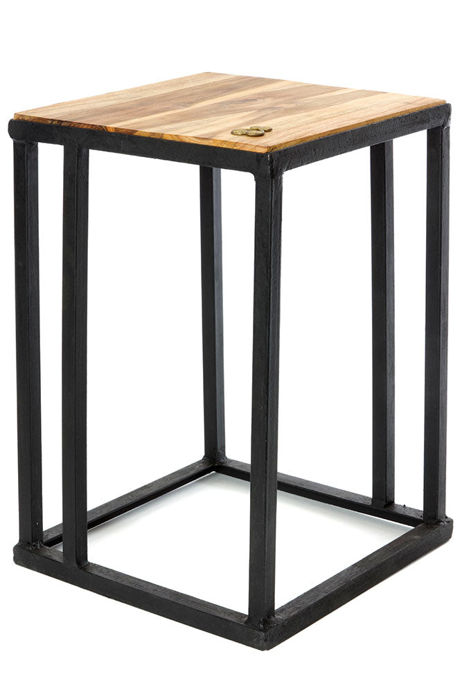 Swahili African Modern Ghanaian Teak and Metal Accent Table