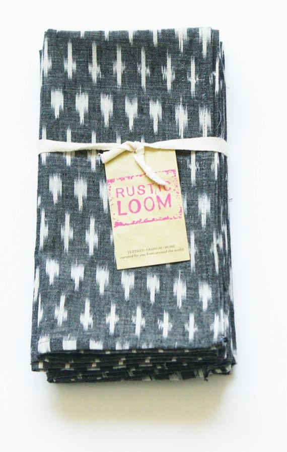 Rustic Loom Gray White Dash Handwoven Ikat Cotton Table Napkin Jungle Pillows