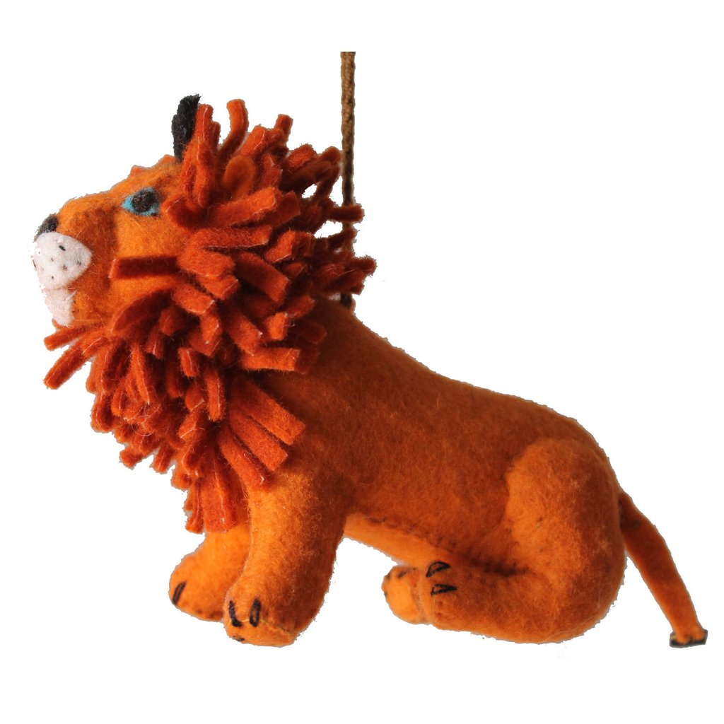 Silk Road Bazaar Lion Felt Holiday Ornament Jungle Pillows