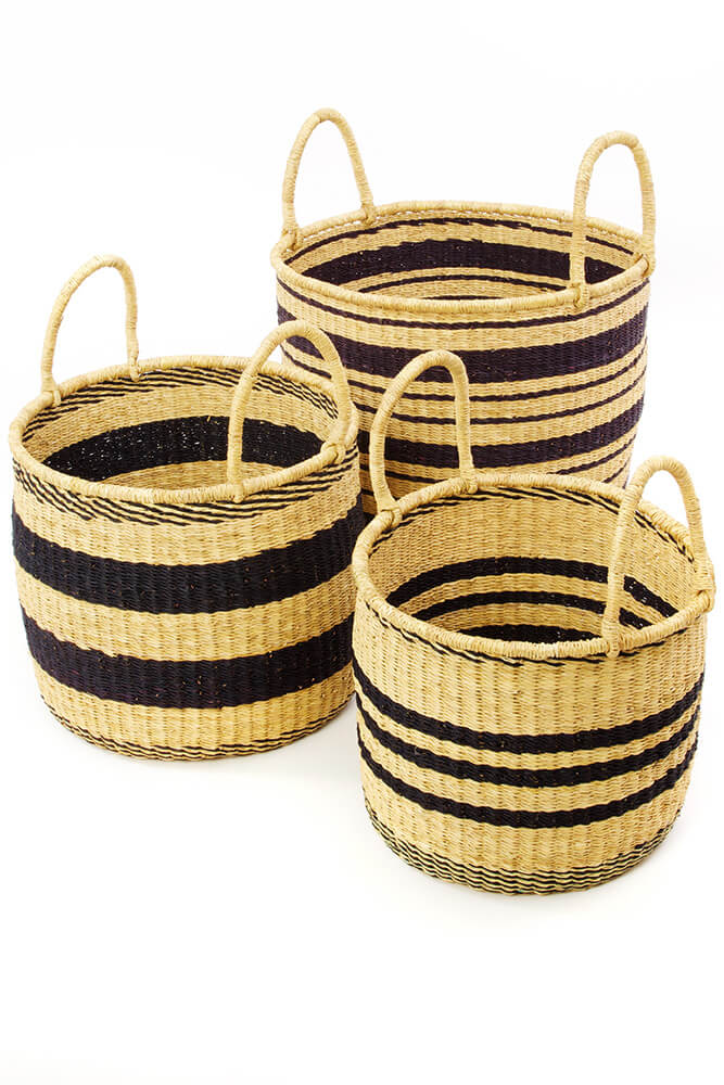 Swahili African Modern Set of Three Striped Elephant Grass Nesting Hampers