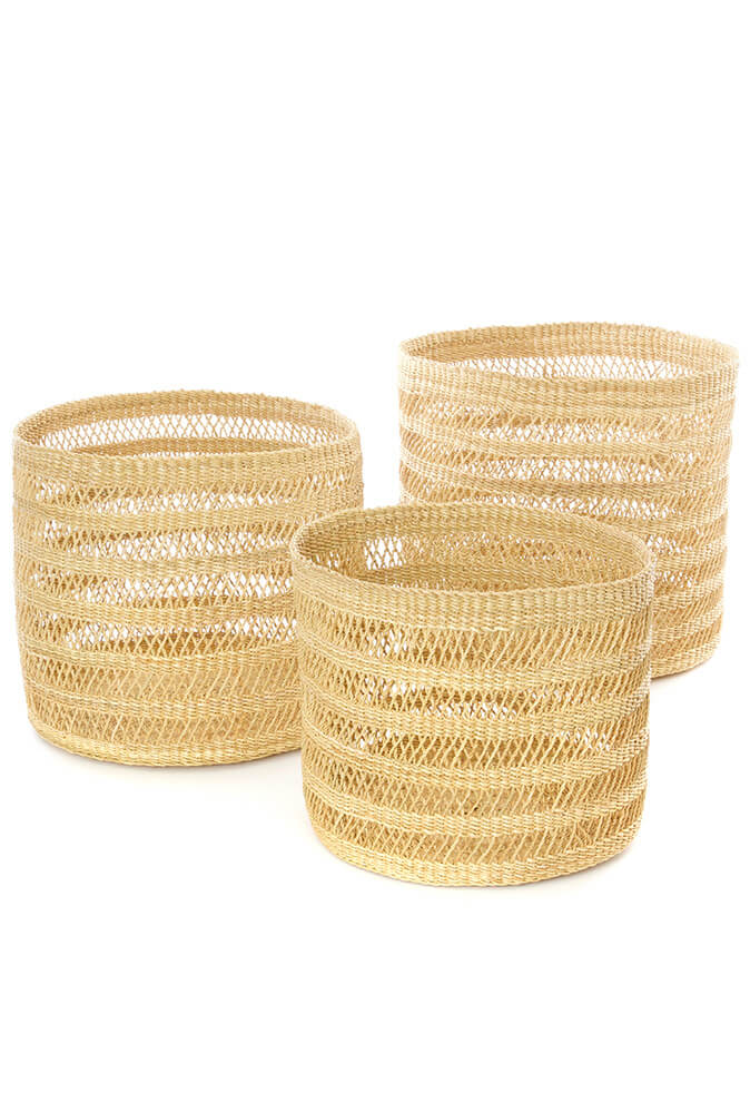 Swahili African Modern Set of Three Veta Vera Lace Weave Basket Bins