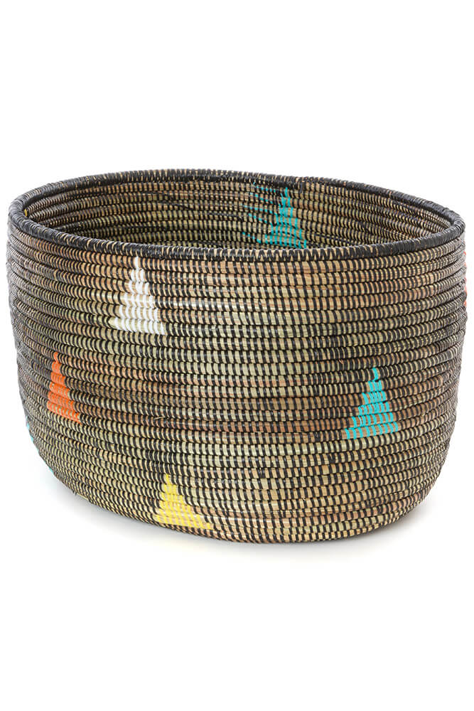 Swahili African Modern Teranga Triangles Knitting Basket