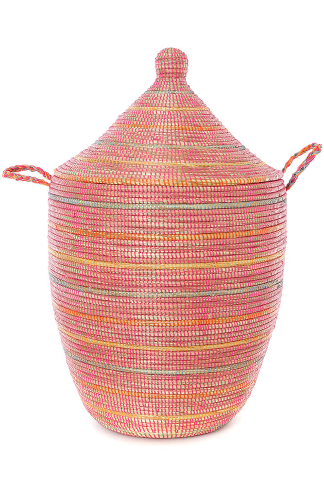 Swahili African Modern Sunrise Stripes Large Laundry Hamper Basket