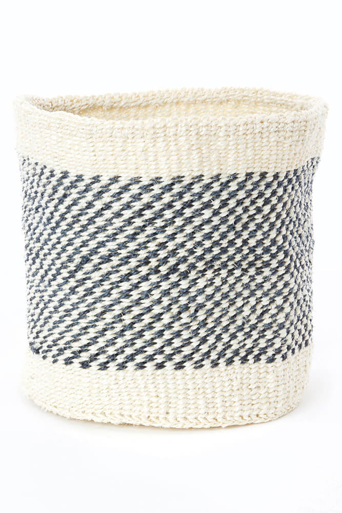 Swahili African Modern Set of Two Charcoal and Cream Twill Sisal Nesting Baskets