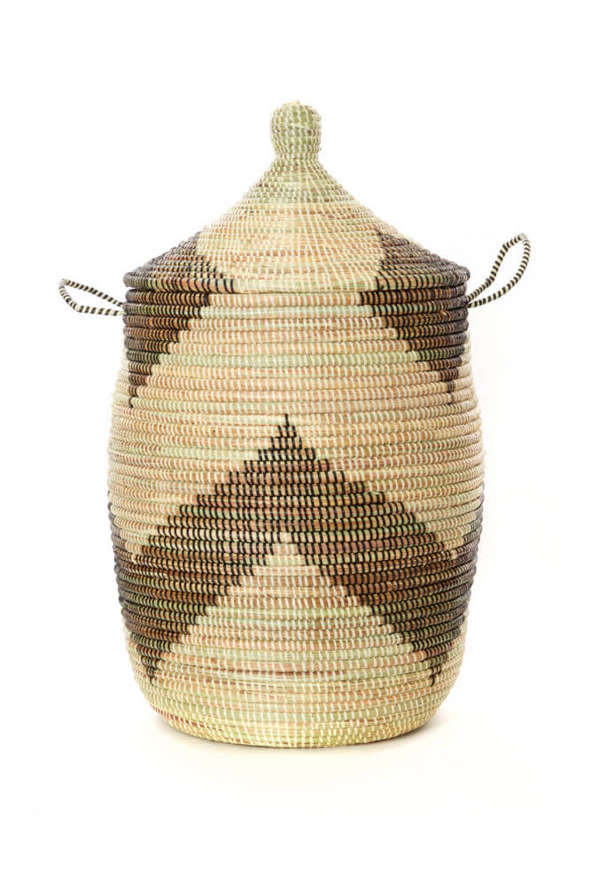 Swahili African Modern Set of Three Black and Beige Mixed Pattern Hampers