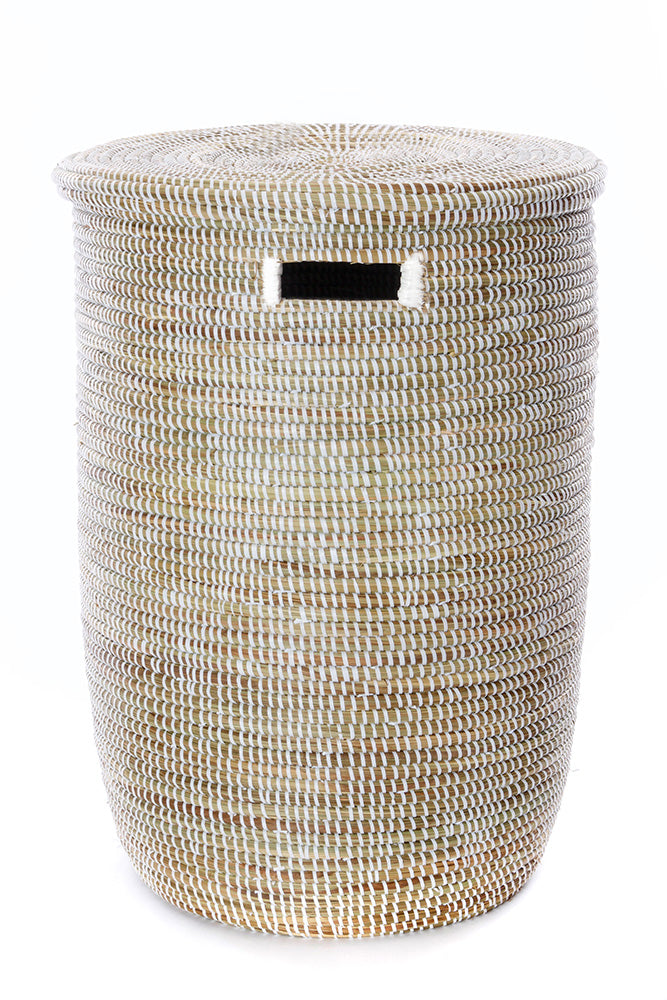 Swahili African Modern Set of Three Solid White Classic Hampers