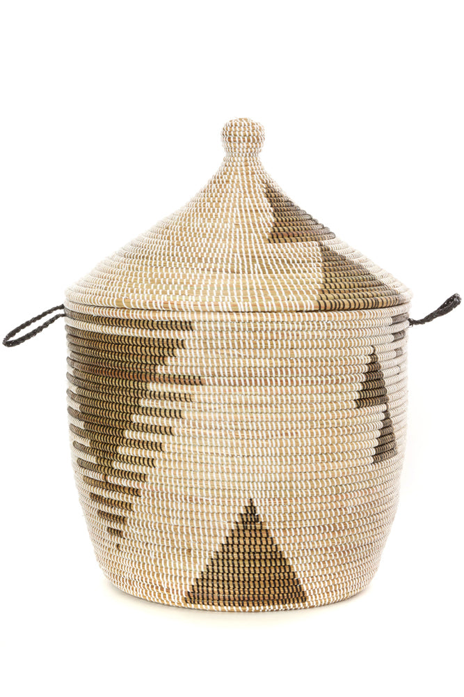 Swahili African Modern Black and White Tribal Design Basket Jungle Pillows