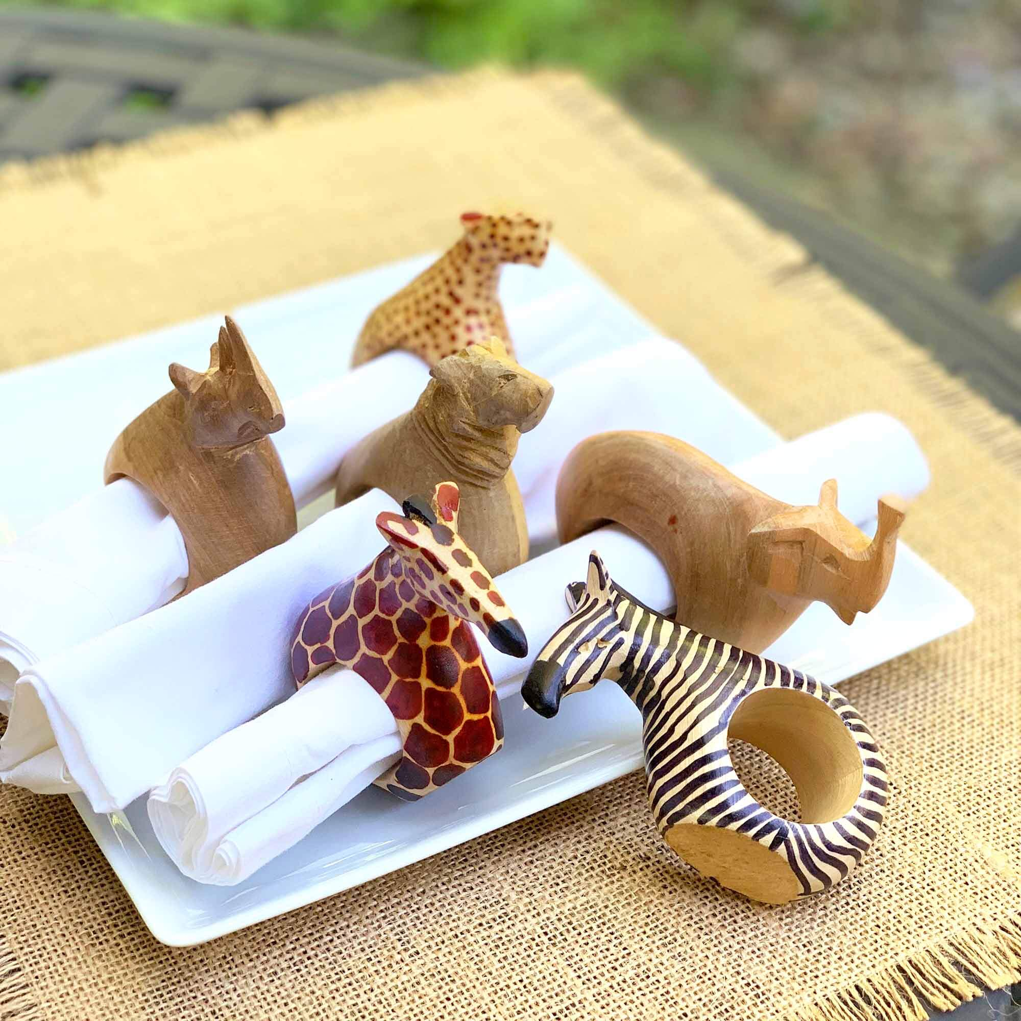 Jedando Handicrafts Set of Six Mahogany Wood Animal Napkin Rings Jungle Pillows