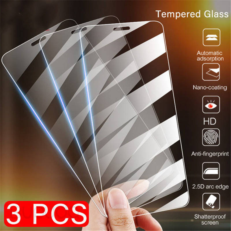 3Pcs Full Cover Glass on the For  iPhone X XS Max XR Tempered Glass For iPhone 7 8 6 6s Plus 5 5S SE 11 Pro Screen Protector - zolean