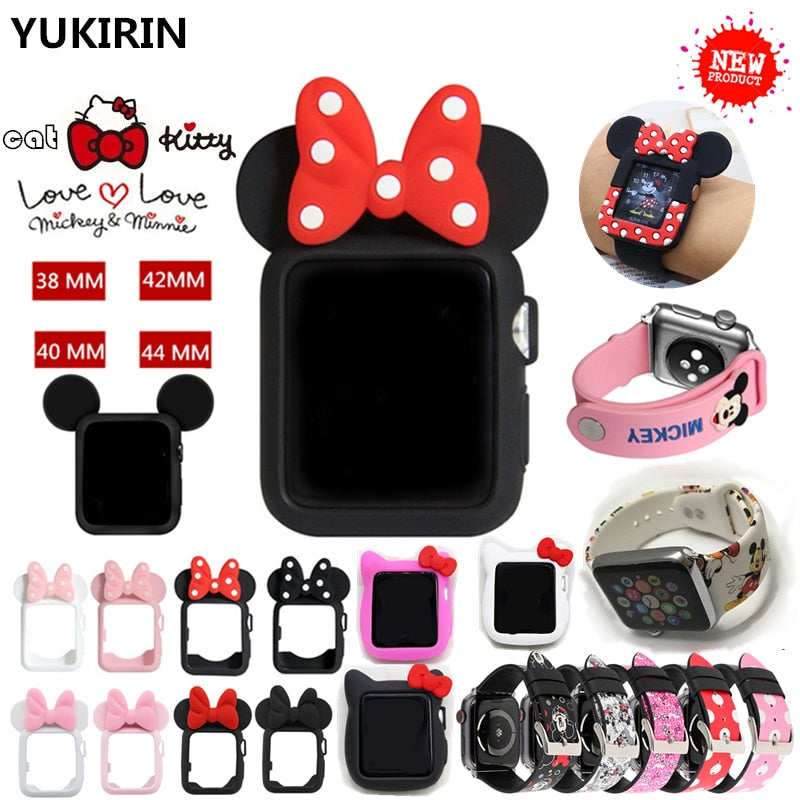 YUKIRIN Cute Minnie Mickey Stitch Silicone Case for Apple Watch Series 4 3 2 1 Leather Band for iWatch 38 42 40 44mm Kid Girl - zolean