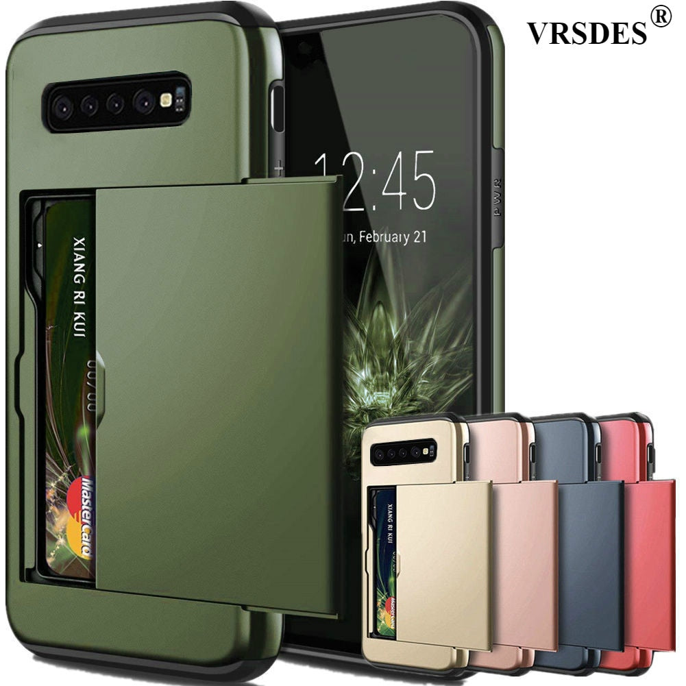 For Samsung Galaxy S10 Plus S9 S8 S7 S6 Edge S5 S10E S10 5G Case Slide Armor Wallet Card Slots Holder Cover For Samsung Note 9 8 - zolean