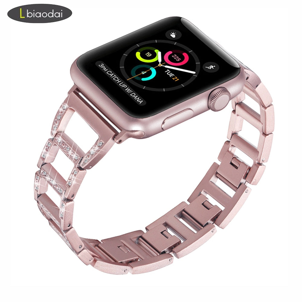 Diamond strap For Apple watch band 44 mm/38mm apple watch 4/3/2/1 iwatch band 42mm/40mm Link bracelet stainless steel watchband