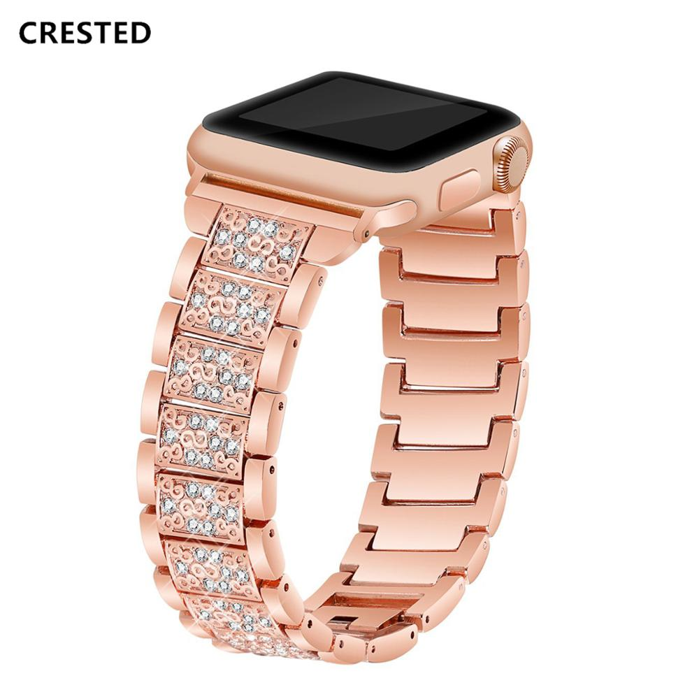 CRESTED Diamond Strap For Apple Watch band 42mm/44mm apple watch 4 3 iwatch band 38mm/40mm stainless steel wrist bracelet belt