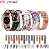 Leather strap for Apple Watch band 44mm 40mm iwatch band 38mm 42mm Floral Printed Watchband Bracelet Apple watch 5 4 3 2 1 44 40 - zolean