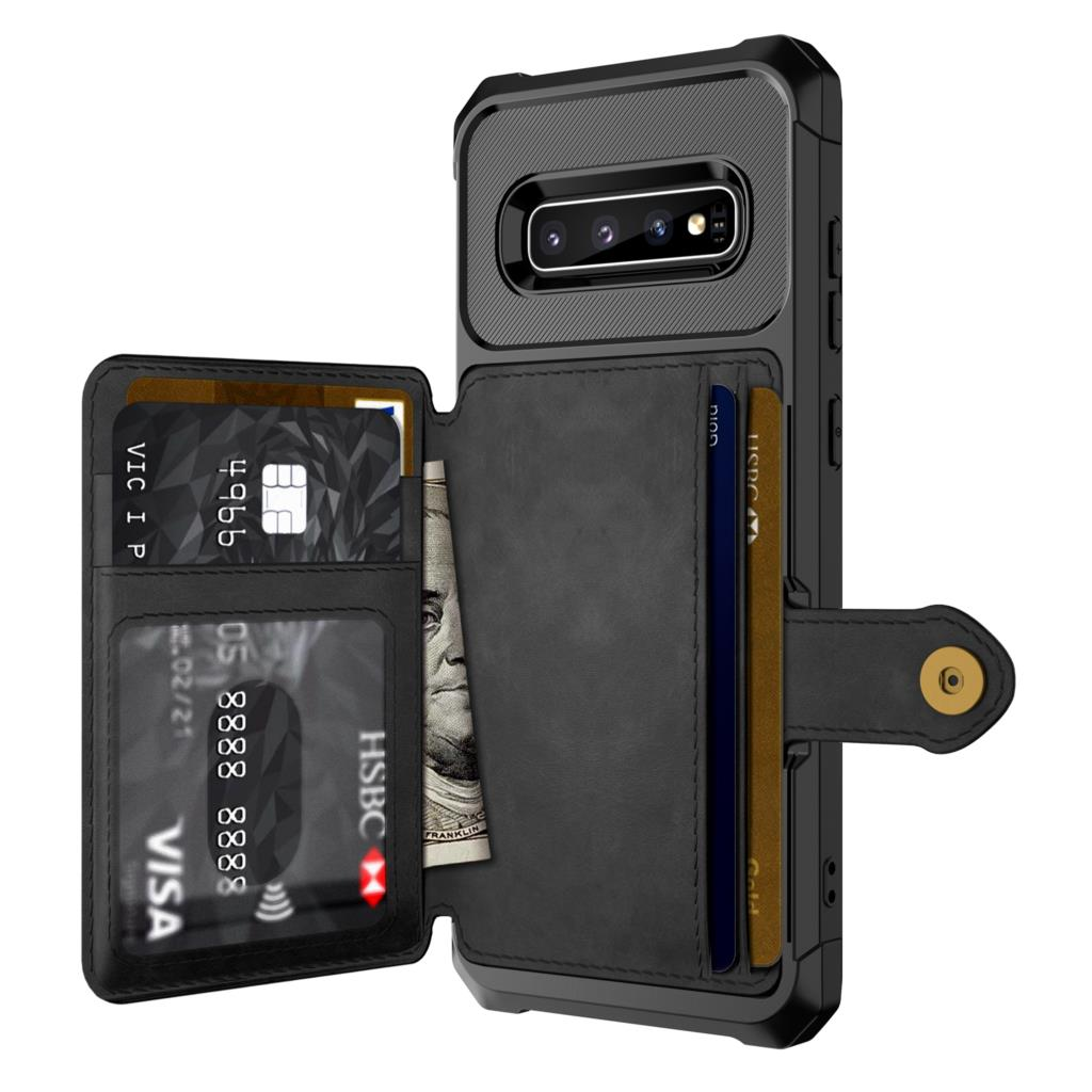 for Samsung Galaxy S9 S10 Plus S10e Note 9 Credit Card Case PU Leather Flip Wallet Cover with Photo Holder Hard Back Cover For Galaxy S10 Plus - zolean