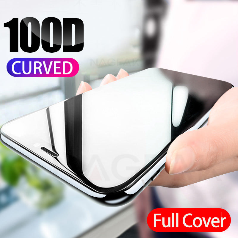 100D Curved Full Cover Protective Glass On The For iPhone 7 8 6S Plus Tempered Screen Protector iPhone 11 Pro X XR XS Max Glass - zolean