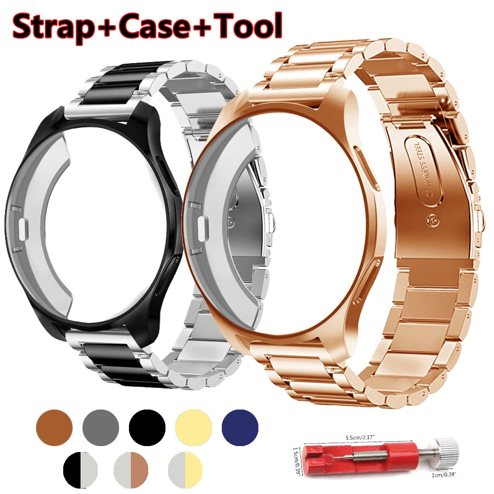 Strap+case 20/22mm watch band For samsung gear S3 Frontier strap Galaxy watch 46mm 42 Stainless Steel TPU plated protective case