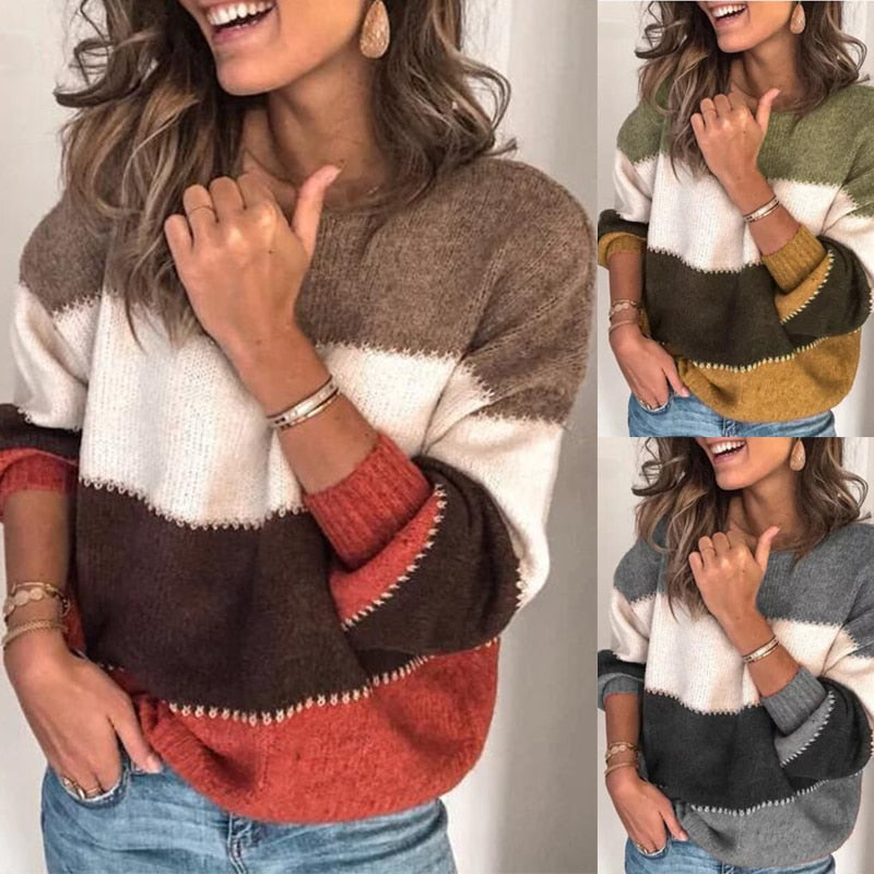 Loose Autumn Winter Striped Sweater Women Pullover Plus Size Womens Sweaters High Quality Oversized Color Block Sweater Jumper - zolean