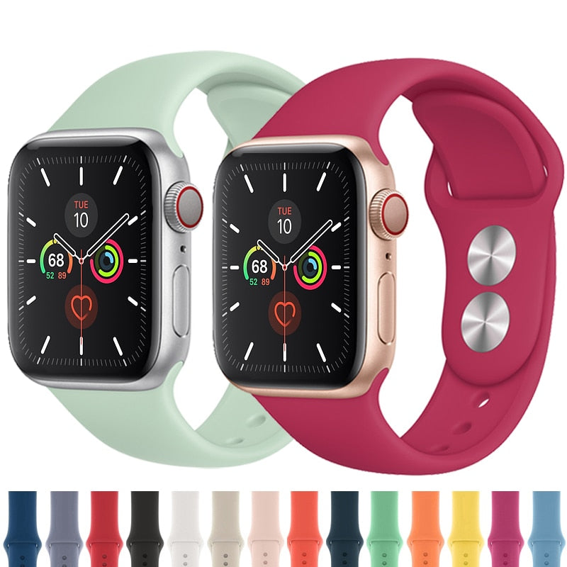 Strap for Apple watch band 42mm 38mm 44mm 40mm correa iwatch 5 4 3 2 sport silicone bracelet pulseira Apple watch 4 accessories - zolean