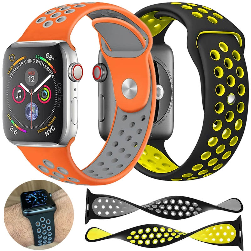 Silicone sports strap For apple watch band 4 (iwatch 5) 44mm 40mm applewatch 3 2 1 strap 42mm 38mm Breathable sports Accessories