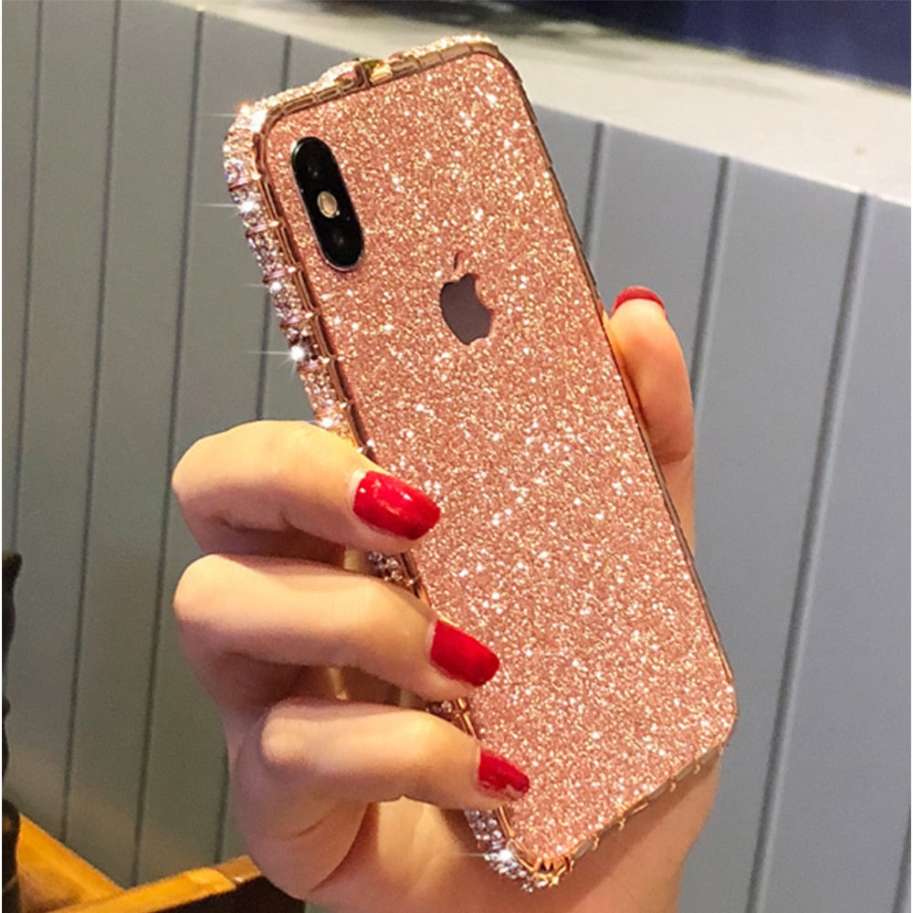 Luxury Fashion Bling Case For Apple iphone 11 Pro Xs Max Xr X 6 6s 7 8 Plus Diamond Frame Rhinestone Flash Glitter Phone Cover