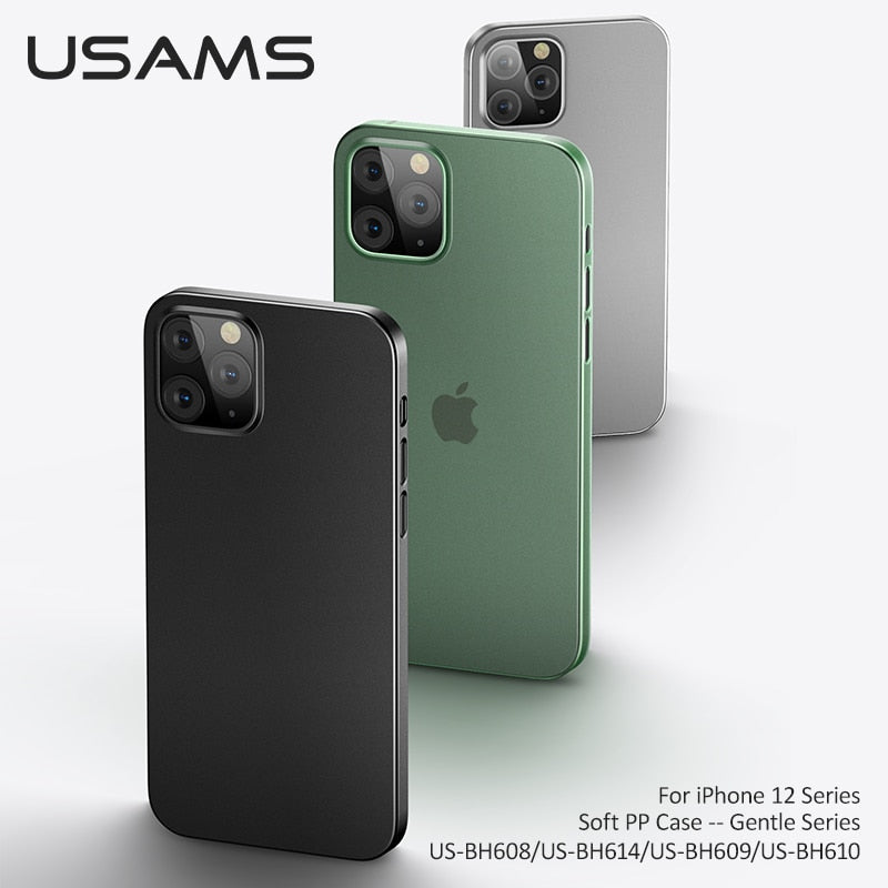 USAMS Ultra Thin Original PP Case For iphone 12 Pro 11 pro Max Soft Ultra Clear Transparent Phone Case Shockproof Slim BackCover