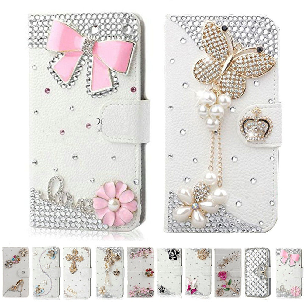Handmade Bling Diamond Rhinestone PU Leather Filp Cover Wallet Case for iPhone 12 11 pro max XR X 5s 6 6s Plus 7 8 plus SE 2020
