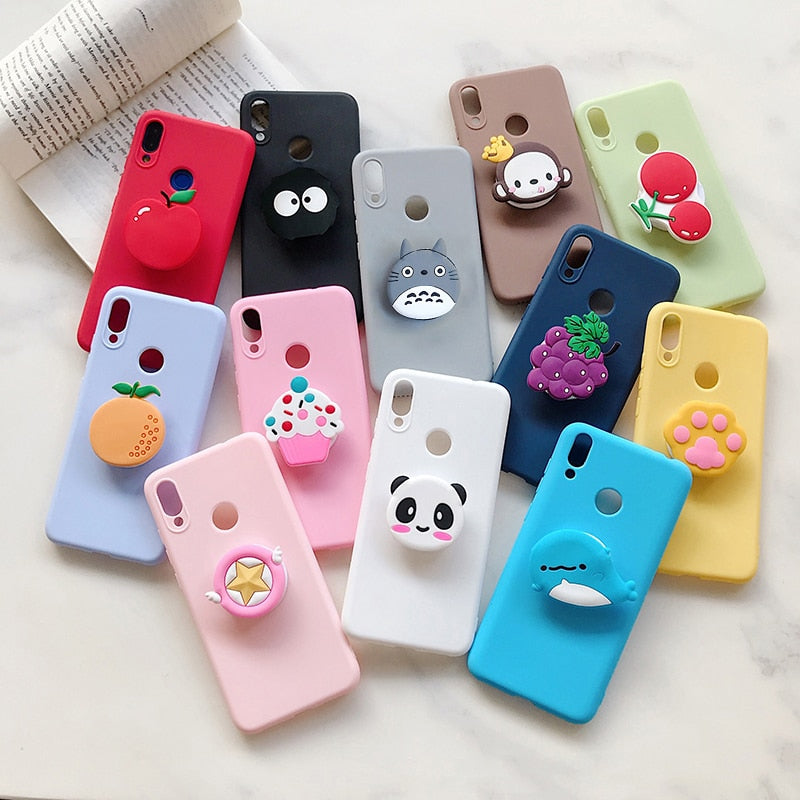 Cute Ice Cream Finger Ring Stand Case for Apple iPhone 11 12 Pro Max XR XS X 7 8 6 6S Plus SE 2020 5S 5G Star TPU Holder Cover