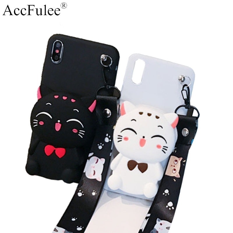 Cute Cartoon DIY 3D Wallet Soft Silicone Case For iPhone X XR XS Max 8 7 6 6S Plus Samsung Galaxy S8 S9 S10 Plus Note 8 9 Cover