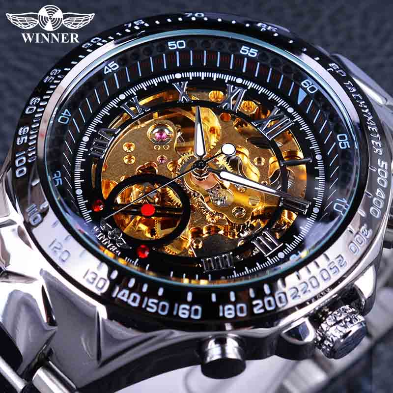 Winner Classic Series Golden Movement Inside Silver Stainless Steel Mens Skeleton Watch Top Brand Luxury Fashion Automatic Watch - zolean