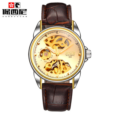Men Gold Watches Automatic Mechanical Watch Male Luminous Wristwatch Stainless Steel Band Luxury Brand Sports Design Watches
