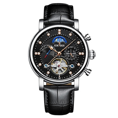 KINYUED Moon Phase Top Brand Mens Mechanical Watches Automatic Tourbillon Skeleton Watch Men Calendar Relogio Masculino dropship - zolean