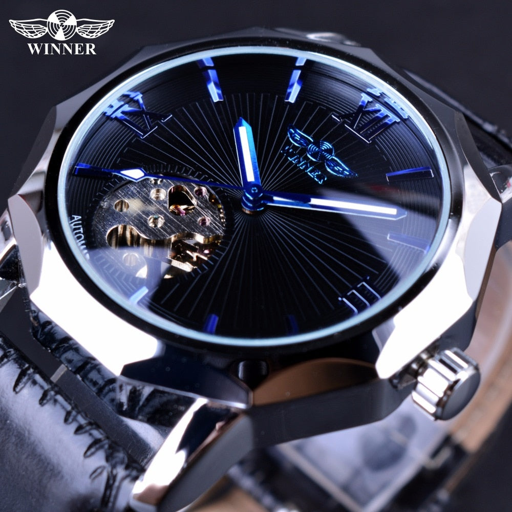 Winner Blue Ocean Geometry Design Transparent Skeleton Dial Mens Watch Top Brand Luxury Automatic Fashion Mechanical Watch Clock - zolean