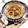 Forsining Transparent Case Open Work Silver Stainless Steel Mechanical Wrist Watch - zolean