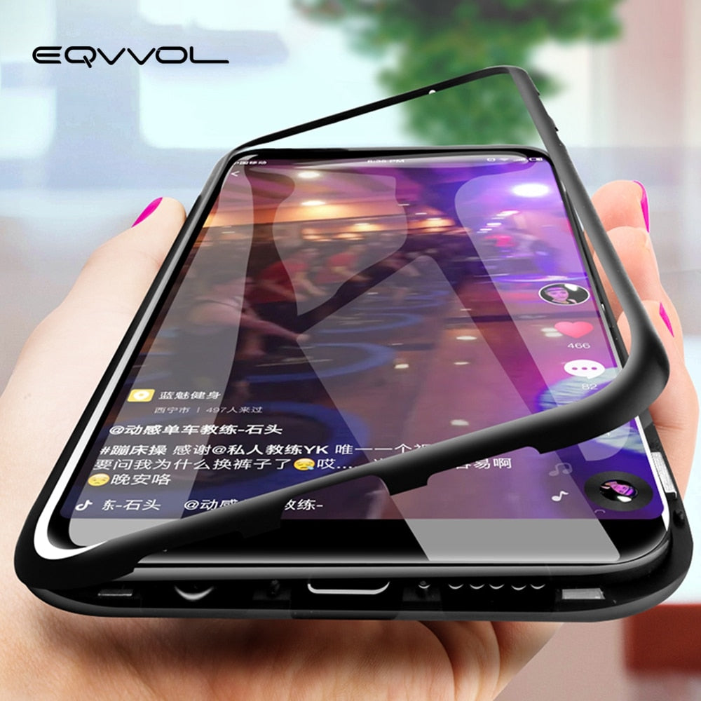 Eqvvol Magnetic Adsorption Metal Case For Samsung Galaxy S9 S8 Plus S7 Edge Tempered Glass Back Magnet Cover For Note 8 9 Cases