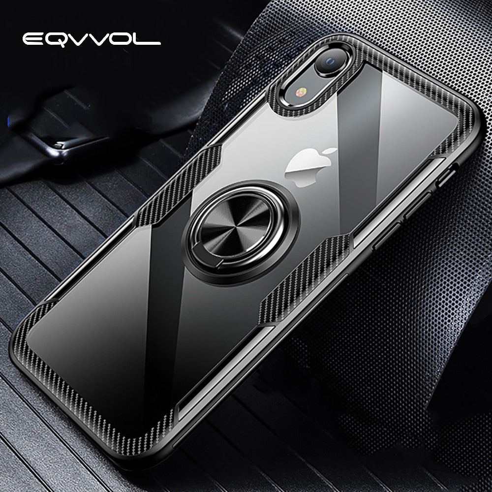 Eqvvol Car Magnetic Holder Case For iPhone XR XS MAX X 8 Plus 7 6 Finger Ring Holder Cases 7Plus Carbon Fiber Transparent Cover - zolean